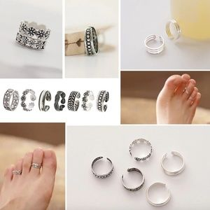 Boho Retro Silver Stacked Midi Toe Ring